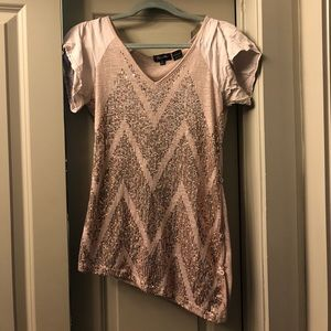 Miss Me Assymetrical V Neck Top- Size Large